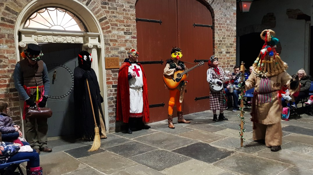 Mummers perform at the Days of Christmas Past tour at Ulster American Folk Park