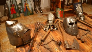 An assortment of Medieval weapons on display at Predjama Castle in Slovenia