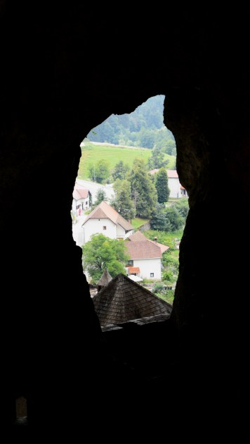 View from inside the rear cave at Predjama Castle, Slovenia