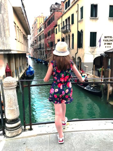 Lily-Belle admiring the canals in Venice