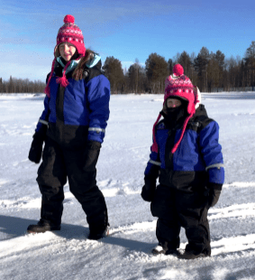 Lily-Belle and Matilda takking a break from Ice Fishing at Ruka Lake