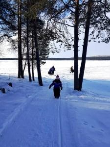 Matilda heading toward Ruka Lake for Ice Fishing