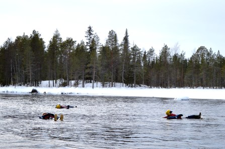 Ice Floating down the rapids in Ruka
