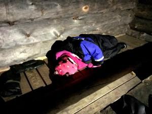Matilda sleeping at the Starlit Sleigh Ride camp