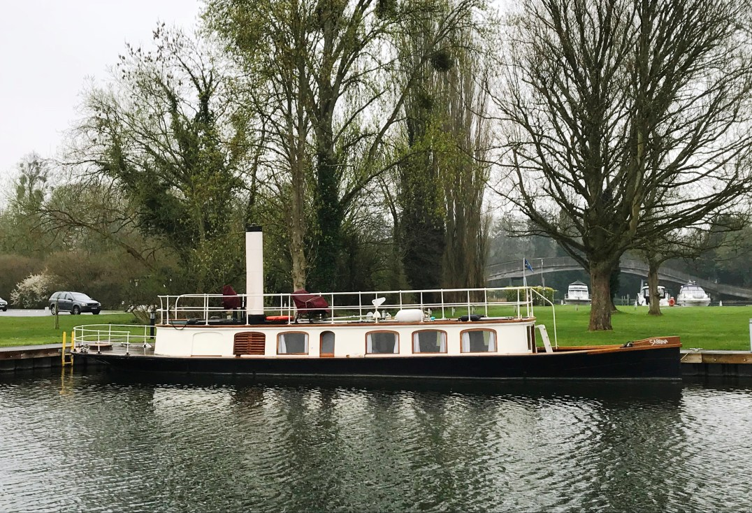 Steamship Alaska moored at Harleyford Marina on the River Thames