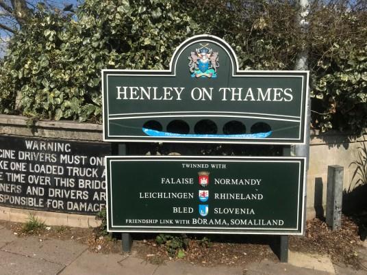 Sign on Henley Bridge on the River Thames