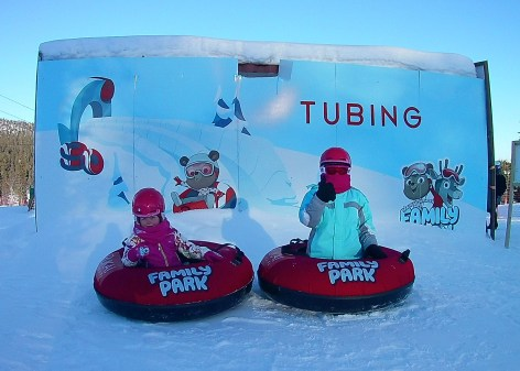 Tubing at Rosa and Rudolph Family Park in Ruka, Finnish Lapland