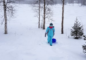 Lily-Belle sledding at A Cosy Cottage by the River, Rovaniemi