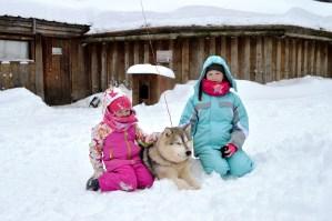 Stroking husky's at Husky Park at Santa Claus Village in Rovaniemi, Finnish Lapland