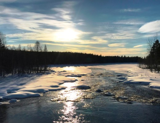 A beautiful winter sunset in Finnish Lapland