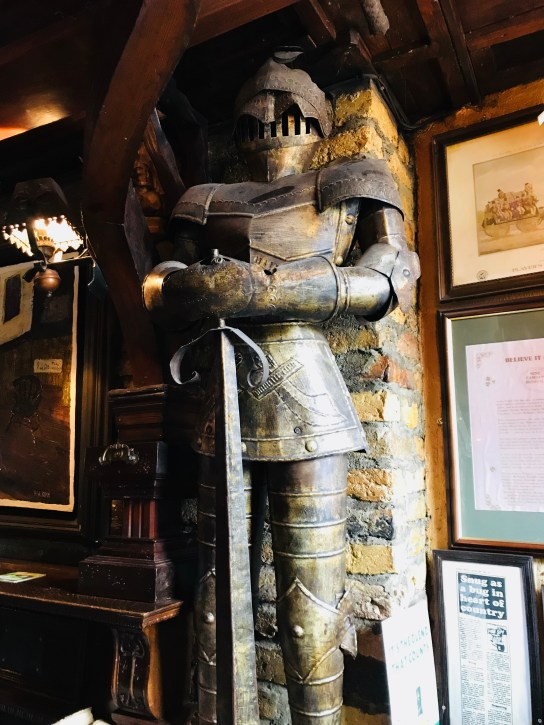 Knights on guard at Bertie browne's pub in Athlone