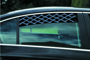 Lattice window vent for keeping your dog cool on car journeys