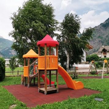 Slides at the play area at Aparthotel Majestic, Predazzo