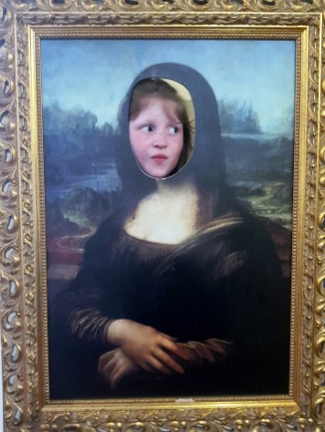 Lily-Belle as the Mona Lisa at the Leonardo da Vinci Museum, Florence