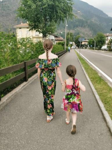 Lily-Belle and Matilda strolling to Predazzo in Val di Fiemme