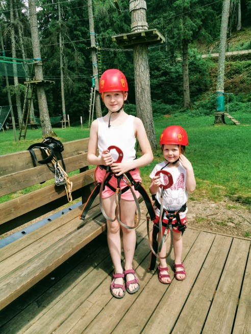 Getting kitted out at Acropark Adventure Dolomiti