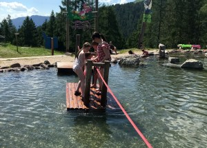 Raft pulling at Giro D'Ali in Val di Fiemme