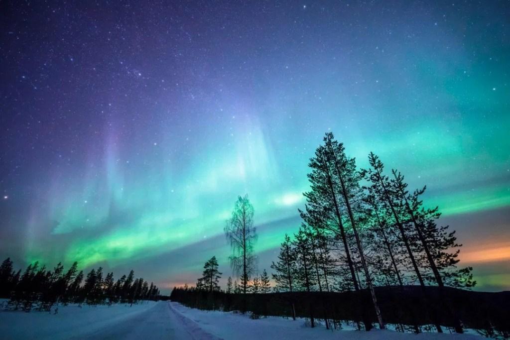 Aurora Borealis above Rovaniemi, Finnish Lapland