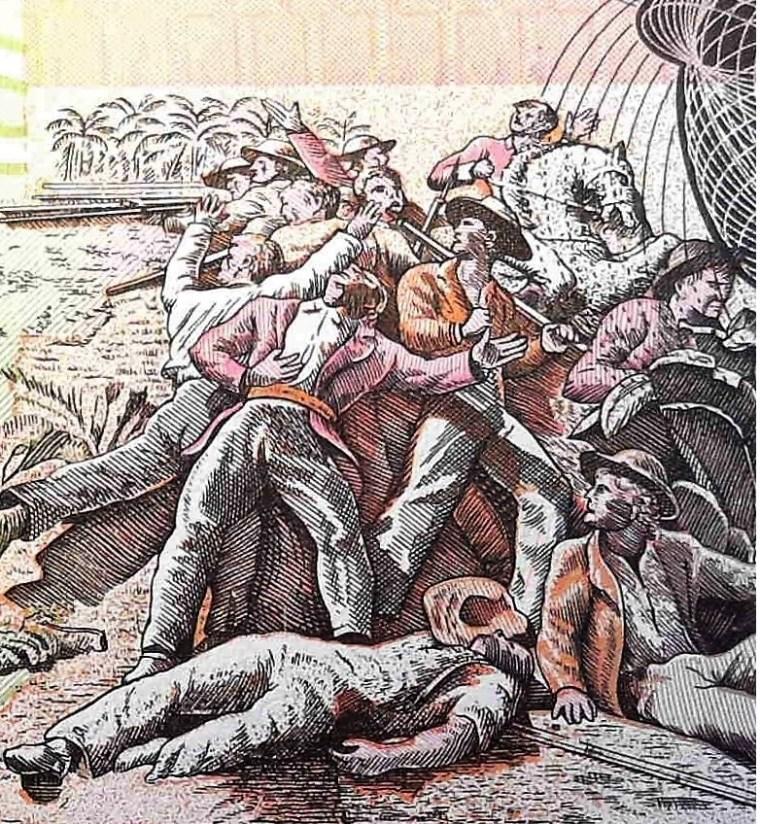 colored closeup detail of Honduras 5 Lempiras Banknote back, featuring battle