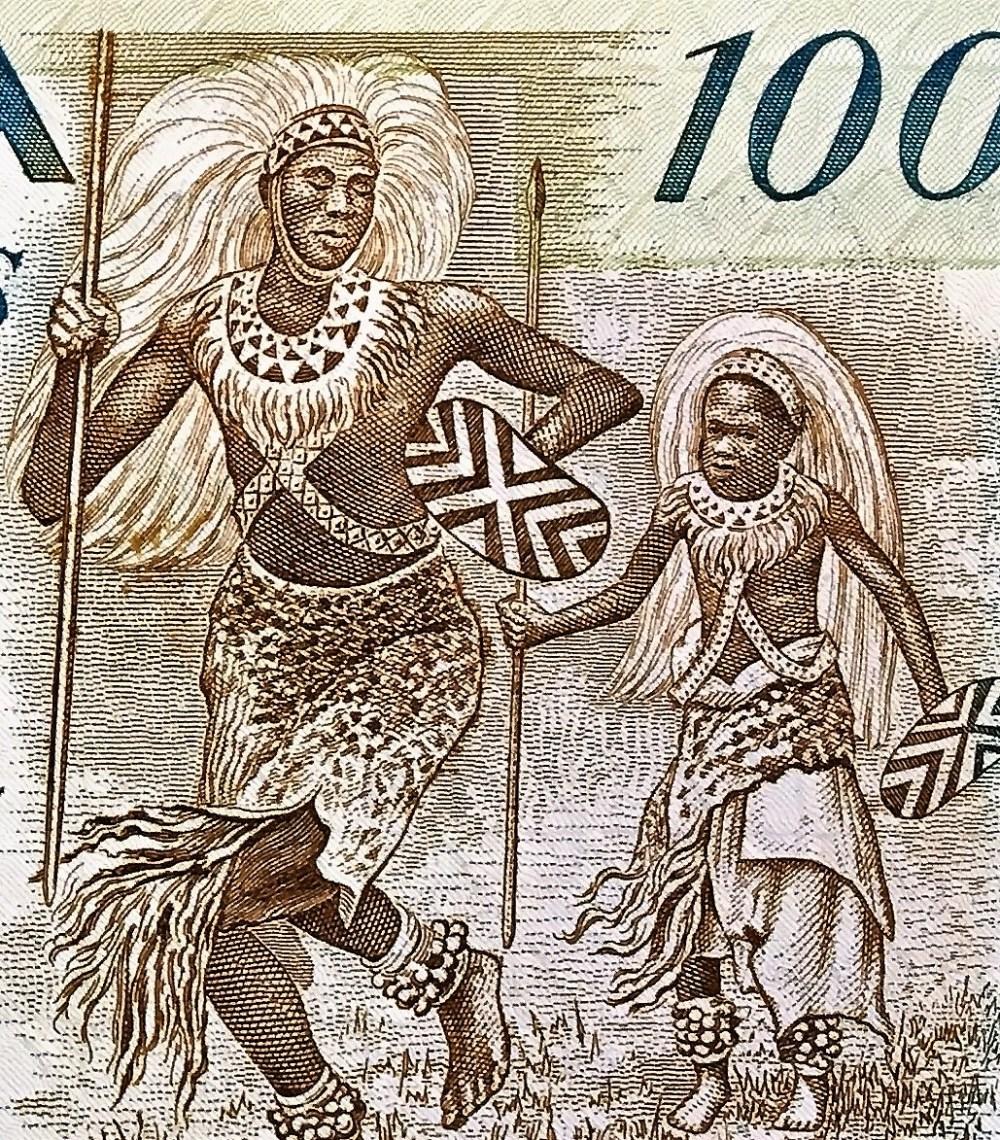 closeup detail of Rwanda 100 Francs Banknote, Year 1988 front, featuring watutsi warriors