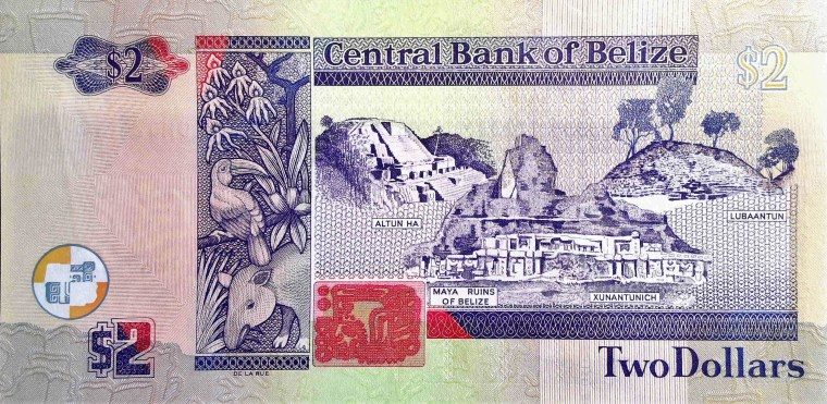 Belize 2 Dollar Banknote back, featuring Mayan ruins