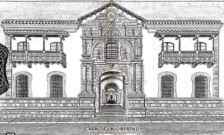 closeup detail from Bolivia 1000 Bolivianos Banknote front, featuring Casa De La Libertad