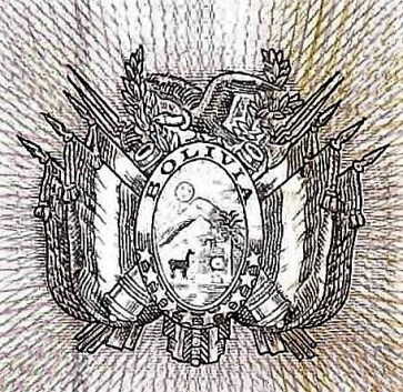 closeup detail from Bolivia 1000 Bolivianos Banknote front, featuring coat of arms