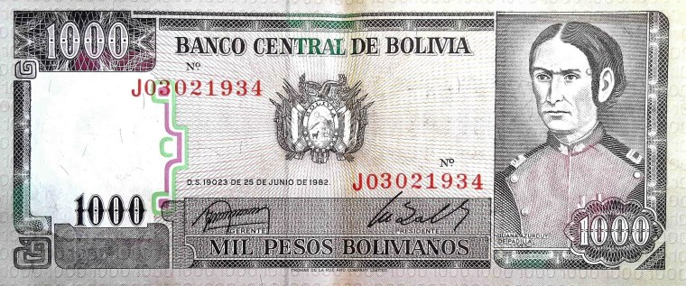 Bolivia 1000 Bolivianos Banknote front, featuring portrait of Juana Azurduy de padilla