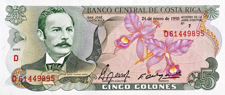 Costa Rica 5 Colones Banknote, Year 1990  front, featuring man's portrait and orchids