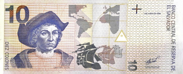 El Salvador 10 Colones  front, featuring portrait of Christopher Columbus and his ships