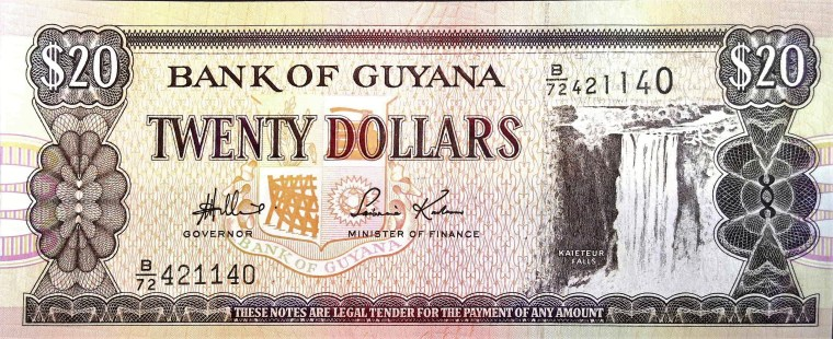 Guyana 20 Dollar Banknote front, featuring Kaiteur Falls