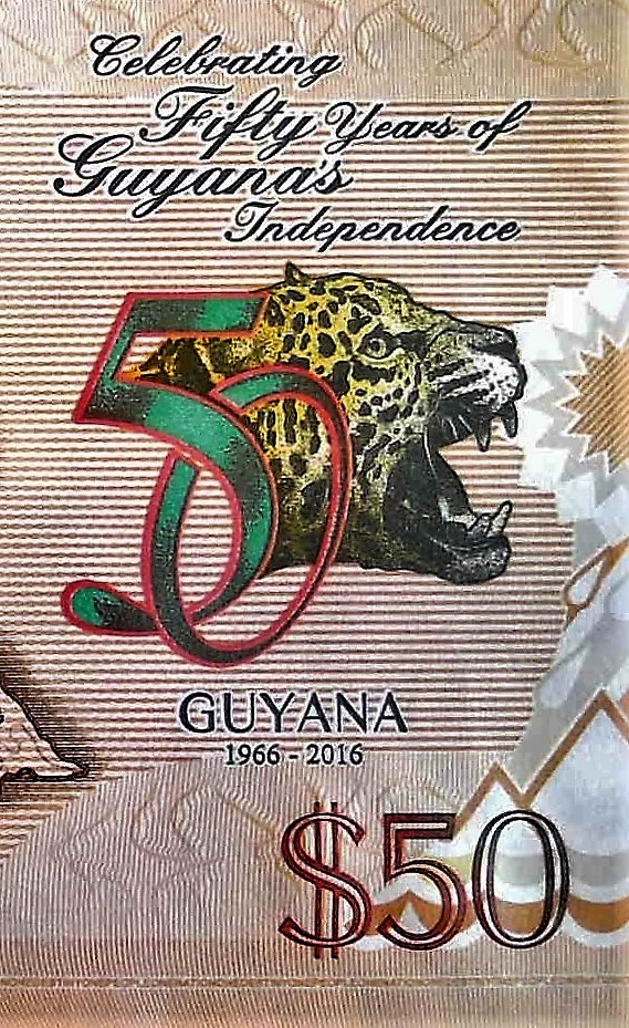 closeup leopard details of Guyana 50 Dollar Banknote, Year 2016 back