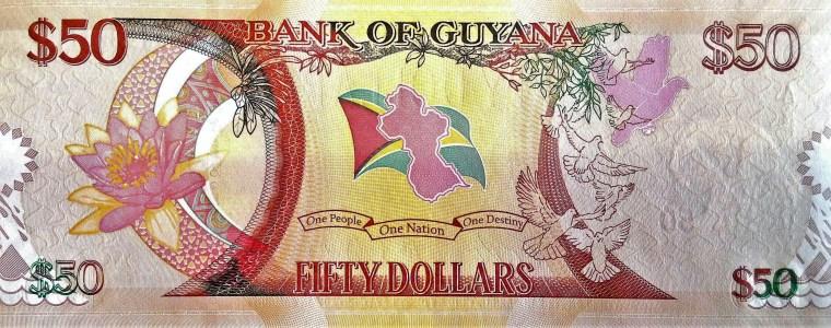 Guyana 50 Dollar Banknote, Year 2016 front