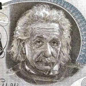 Israel 5 Lirot Banknote, Year 1968 front, featuring portrait of Albert Einstein