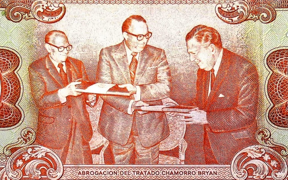 closeup detail from Nicaragua 20 Cordobas Banknote back, featuring The Abbrogation of the Chamorro – Bryan Treaty