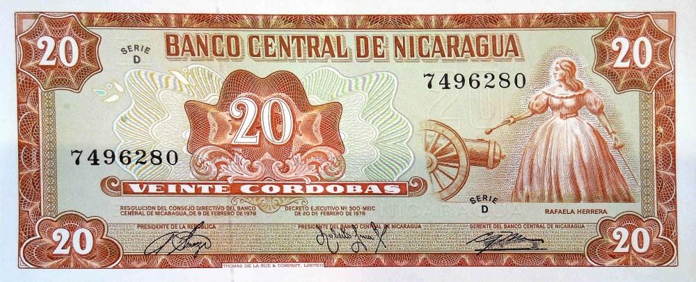 Nicaragua 20 Cordobas Banknote front, featuring Rafaela Herrera lighting a canon