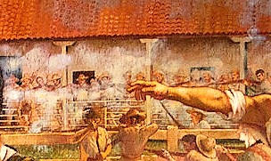 closeup detail of painting showing stone throw of Andres castro