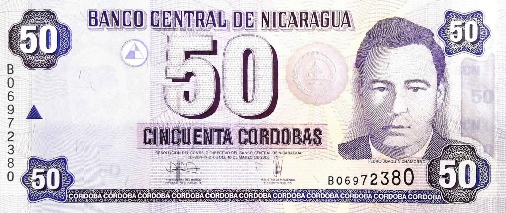 Nicaragua 50 Cordobas Banknote front