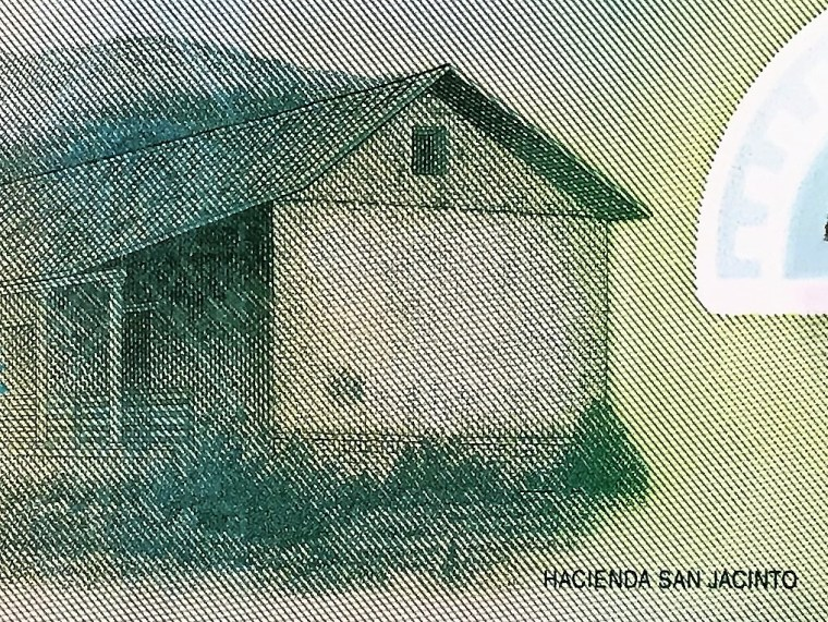 "closeup detail of Nicaragua 10 Cordobas Banknote, Year 2007 back, featuring  ""Hacienda San Jacinto"""