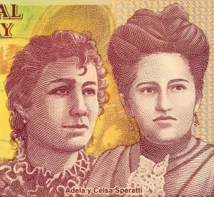 closeup detail of Paraguay 2000 Guaranies Banknote , featuring Adela y Celsa Speratti