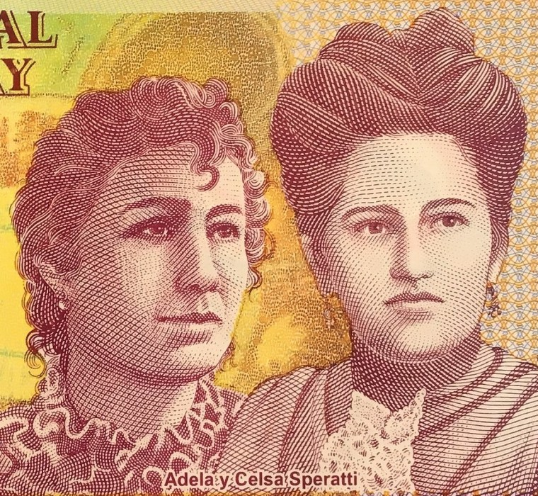 closeup detail of Paraguay 2000 Guaranies Banknote , featuring Adela y Celsa Speratti