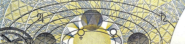closeup detail of Poland 1000 Zloty Banknote, year 1982  back, featuring orbits of jupiter and saturn