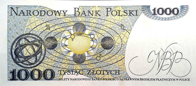Poland 1000 Zloty Banknote, year 1982  back