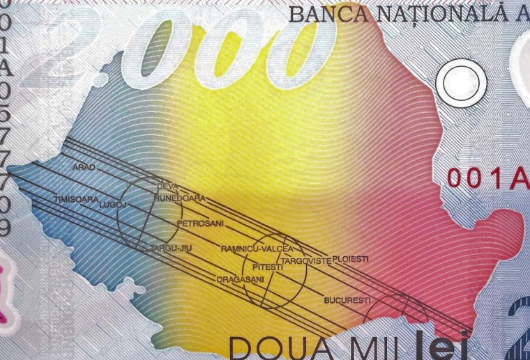 closeup detail from Romania 2000 Lei Banknote back, featuring map of romania