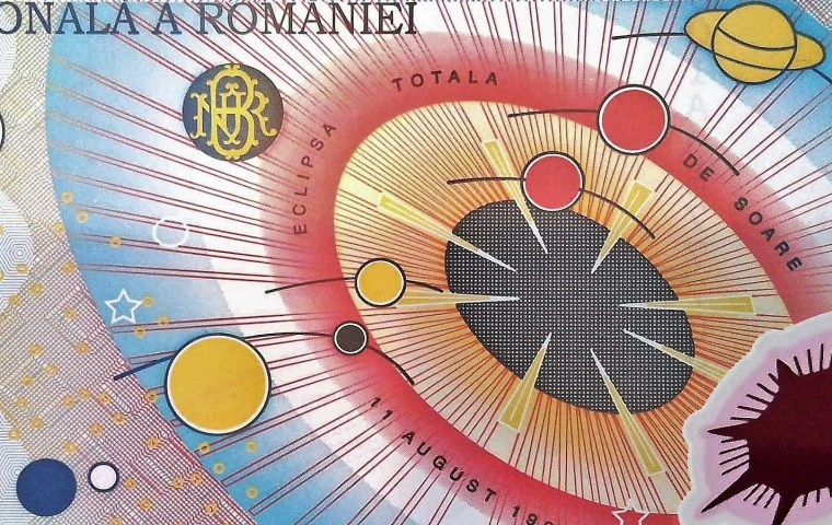 closeup detail from Romania 2000 Lei Banknote  front, featuring solar system