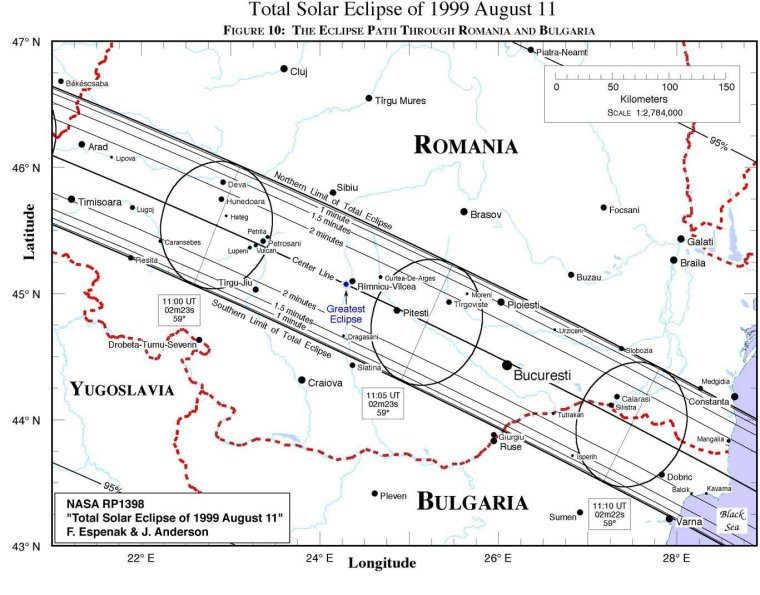 map of romania eclipse 1999