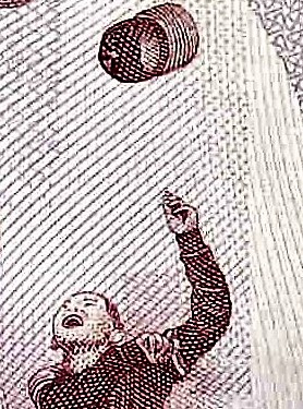 closeup detail from Taiwan 500 Yuan Banknote front, featuring winning little leage member of baseball team celebrating