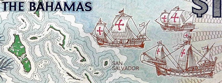 closeup detail of The Bahamas 1 Dollar Quincentennial Banknote, Year 1992 back, featuring ships of Christopher columbus approaching shoreline