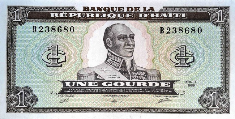 Haiti 1 Gourde Banknote, Year 1989 front, featuring portrait of Toussaint Louverture, hero of the Haitian Revolution