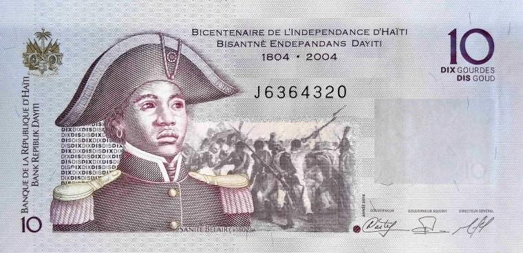 Haiti 10 Gourdes Banknote, year 2010 front, featuring portrait of Suzanne Belair